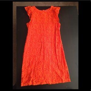 Bright orange London times lace dress! Worn once!